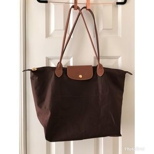 Longchamp Le Pilage Large Chocolate Brown Tote